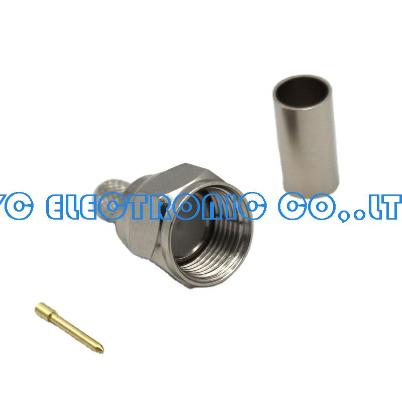 F male crimp  connector for RG58/RG589/RG6 Nickel plated